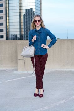 chambray shirt, ankle pants, suede bow pumps