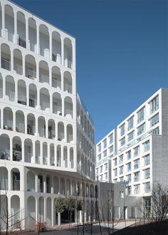 White concrete social housing block near Paris