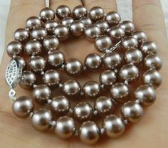 """8mm Silver Champagne South Sea Shell Pearl Necklace 18"""" AAA+ US $4.50"""