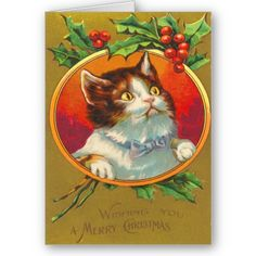 Vintage cat holly red christmas greeting card Designs Gift Ideas and Decorations Cat Christmas Cards, Christmas Stickers, Vintage Christmas Cards, Christmas Images, Christmas Holidays, Christmas Postcards, Christmas Graphics, Victorian Christmas, Xmas Cards