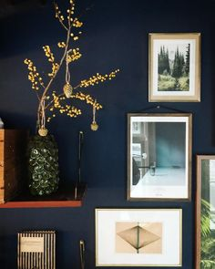 Den lille blå stue   Salmon Street Dark Walls, Touch Of Gold, Picture Wall, Gallery Wall, Frame, Interior, Instagram, Home Decor, Living Room