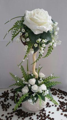 ~ Pin by Basia Smieszek on drzewka Topiary Centerpieces, Floral Centerpieces, Wedding Centerpieces, Floral Arrangements, Wedding Decorations, Flower Crafts, Diy Flowers, Flower Art, Paper Flowers