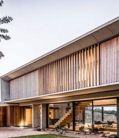 The Forest House by Bloc Architects. Photograph by Peter Oravecz Facade Architecture, Modern Architecture House, Modern House Design, Villa, Facade Design, Exterior Design, Casa Hygge, Roman Bath House, Saint Palais