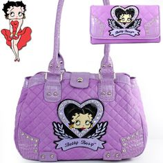 Betty Boop Fashion Unique Betty Boop Character and Gemstones Rhinestone Studded Quilt Tote Satchel Shopper Handbag Purse with Wallet in Light Purple Lavender