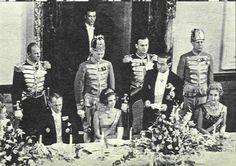 King Frederik, Princess Anne Marie Crown Prince Constantine and Queen Ingrid. Engagement Dinner Copenhagen 1963