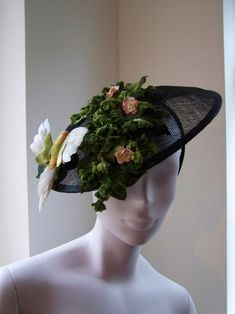Sinamay Headpiece with Vintage Velvet Leaves and Bird - How To Make Hats Millinery Classes | Hat Academy