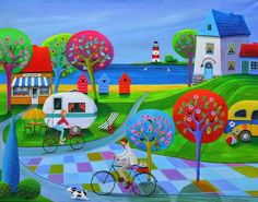 Paintings and illustrations by Iwona Lifsches. Art presentation and sale of original paintings and other art products. Art And Illustration, Country Paintings, Naive Art, Whimsical Art, Landscape Art, Art Lessons, New Art, Painting & Drawing, Folk Art