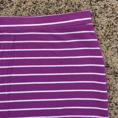 "NWOT French Connection mini skirt Cute purple and white striped mini skirt from French Connection. Super stretchy and tight. 15"" waist to hem. Like new, never been worn! French Connection Skirts Mini"