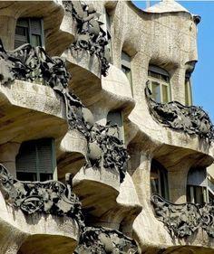 Balconies on Gaudi apartments, Barcelona by kara