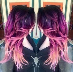 Magenta purple pink ombre hair