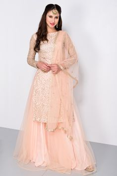 Light Pink Embroidered kurta with pink lehenga Sharara Designs, Kurti Designs Party Wear, Indian Gowns, Indian Attire, Indian Outfits, Pakistani Wedding Outfits, Pakistani Dresses, Pakistani Clothing, Bridal Outfits