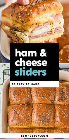 Ham and Cheese Sliders are the best solution for an easy dinner. These make the perfect party food, and will win over any crowd. Ham Cheese Sliders, Ham And Cheese, Best Appetizers, Appetizer Recipes, Dinner Recipes, Slider Recipes, Sandwich Recipes, Hawiian Rolls, Roast Beef And Cheddar