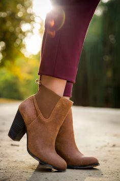 Burgundy Pants and Brown Booties - Stylishlyme