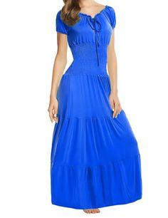 Meaneor Women Boho Cap Sleeve Smocked Waist Tiered Renaissance Summer Maxi…