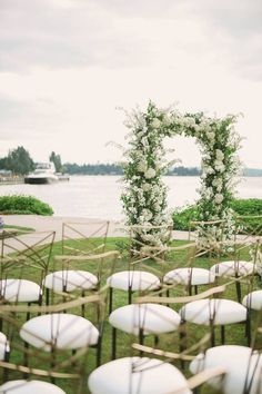 Outdoor wedding ceremony with greenery and white flowers - greenery wedding ideas Find a wedding planner in your city on WeddingWire! {Leigh and Mitchell} Wedding Ceremony Seating, Wedding Ceremony Flowers, Spring Wedding Flowers, Ceremony Arch, Wedding Summer, Wedding Flower Inspiration, Wedding Ideas, Wedding Designs, Wedding Blog