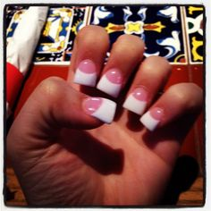 Pink and White Flared Nails ❤ simple & I love the flare nails! Pedicure Designs, Nail Designs, Pedicure Ideas, Jersey Nails, Duck Nails, Flare Nails, Super Nails, French Nails, French Manicures