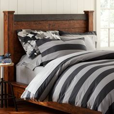 Rugby Stripe Duvet Cover, Full/Queen, Black/Charcoal
