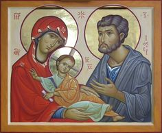 Whispers of an Immortalist: Infancy of Christ 3 Icon of the Holy Family Byzantine Icons, Byzantine Art, Religious Icons, Religious Art, Famous Freemasons, Madonna, Christ Is Risen, Biblical Art, Family Images