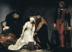 The Execution of Lady Jane Grey by Paul Delaroche,1833. Jane, blindfolded and dressed in white on the scaffold, blindly reaching for the block has all the erotic overtones of a virgin sacrifice. (Nancy Mitford startlingly told Evelyn Waugh that this image was the source of her adolescent sexual fantasies.)
