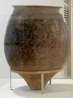 Storage jar. C. 2700-2000 BC. Mature Harappan period. Chanhudaro. Pakistan. National Museum, New Delhi.  The real beginning of Indian pottery is with the Indus Valley Civilization. There is proof of pottery being constructed in two ways, handmade and wheel-made.[2] Harrappan and Mohanjodaro cultures heralded the age of wheel-made pottery, characterized by well-burnt black painted red wares.