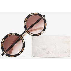Pared Sonny & Cher Circle Shades ($240) ❤ liked on Polyvore featuring accessories, eyewear, sunglasses, brown, vintage glasses, vintage sunglasses, circular lens sunglasses, imitation sunglasses and brown glasses