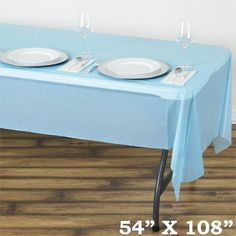 Spotless Elegance 54 X 108 Disposable Plastic Table Cover Serenity Blue Plan