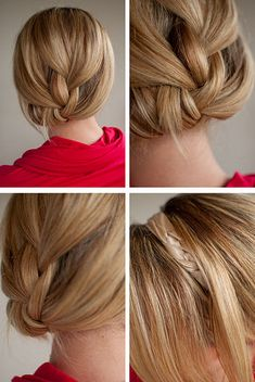 Create the look of a bobbed haircut by pinning and tucking your hair under. Can also add a braided headband to this style.