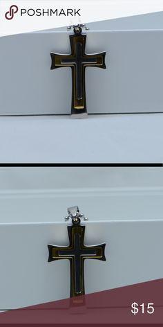 Jewel Tie Sterling Silver Enameled Crucifix Pendant 1.61 in x 0.51 in