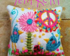 Original Freehand Embroidered Pillow Name Any Theme Large Size