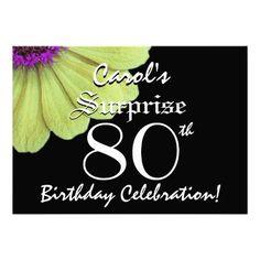 SURPRISE 80th Birthday Black and Yellow Petals 06 Invite