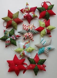 DIY instructions sew fabric stars yourself, sew patchwork stars for Christmas . - DIY instructions Sew fabric stars yourself, sew patchwork stars for Christmas DIY instructions Sew - Christmas Sewing, Christmas Knitting, Christmas Crafts, Christmas Decorations, Christmas Ornaments, Christmas Christmas, Christmas Fabric, Christmas Stockings, Xmas