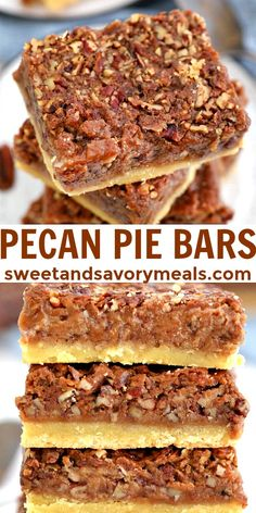 Pecan Pie Bars are sweet, nutty, crunchy and buttery #pecanpiebars #bars #pecanpie #pecan #fallrecipe