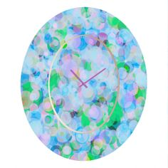 Lisa Argyropoulos Wild Hydrangea Oval Clock | DENY Designs Home Accessories #oval #clock #home #decor #art #blues #greens #lavender #dots #abstract #cute #pretty #gifts #DENYdesigns #DENYholiday #shopsmall