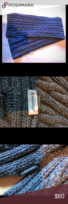 Gray Moncler Wool Scarf MONCLER gray knit wool scarf. Long enough to keep you warm without looking bulky. Barely used. Moncler Accessories Scarves & Wraps