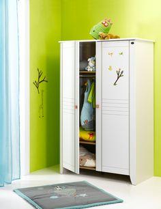 Armoire 2 portes Lilas Blanc : une grande capacité de rangement pour les affaires de bébé