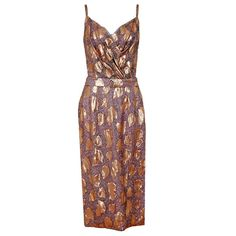 Pre-owned 1950's Ceil Chapman Beaded Metallic Gold Lame & Silk... (58.210 RUB) ❤ liked on Polyvore featuring dresses, cocktail dresses, evening dresses, low cut cocktail dresses, cocktail party dress, special occasion dresses, vintage silk dress and holiday party dresses