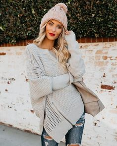7ea6f2b94cfe PREORDER - Mountain Peak Knit Sweater - Light Grey Hemline, Latest Updates,  Bell Sleeve