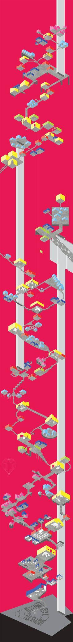 BUREAU SPECTACULAR   a f a s i a presentatie isometrie roze rood grafisch poster circulatie