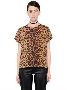 Saint Laurent Oversized Leopard Cotton Jersey T-shirt