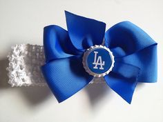 Bedazzled LA Dodgers cheer style hair bow
