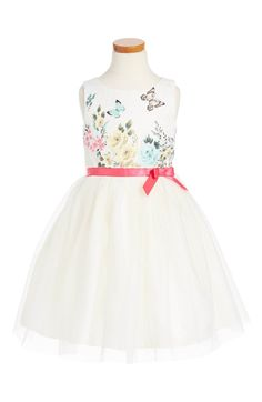 Main Image - Ruby & Bloom Floral Butterly Fit & Flare Dress (Toddler Girls, Little Girls & Big Girls)