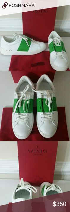 Valentino Rockrunner Leather Sneakers White and green Valentino sneakers with pyramid studs on back. Includes box, tags and dust bag. Worn once and fits like a size 9. Valentino Shoes Sneakers