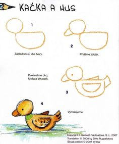 How to draw a duck Easy Art Lessons, Drawing Lessons For Kids, Art Drawings For Kids, Doodle Drawings, Animal Drawings, Easy Drawings, Drawing Sketches, Art For Kids, Basic Drawing