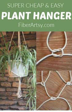 Make your own easy macrame houseplant hanger with cheap rope from the Dollar store. #planthanger #macrame #houseplants #diygardening Macrame Wall Hanging Patterns, Macrame Hanging Planter, Macrame Plant Hangers, Diy Hanging, Hanging Plants, Macrame Patterns, Indoor Plants, Crochet Plant Hanger, Rope Plant Hanger