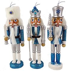 Christmas Nutcracker Figure Soldier Ornaments Snow Fantasy Sparkle Blue and White Wood Set of 3 Nutcracker Figures, Nutcracker Ornaments, Nutcracker Christmas, Amazon Christmas, Diy Crafts For Home Decor, Christmas Decorations, Christmas Ornaments, White Wood, White Christmas