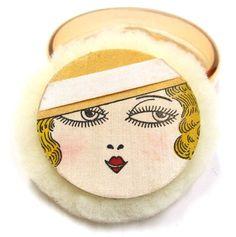 Art Deco Silk Face Powder Puff in Original Box Amber Glass Container