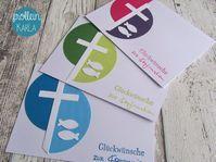 Die abgebildeten Grußkarten könen wahlweise als Einladungskarten für Konfirmation, Kommunion oder Taufe, wie auch als Glückwunschkarten für Konfirmation, Kommunion oder Taufe. bestellt werden. Die Farben kann man sich hierbei - nach Verfügbarkeit - frei aussuchen. Größe: C6 - 10,5 cm x