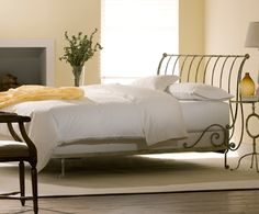 Paris Iron Sleigh Bed- Open Foot Vintage White - I would like to use the bed as a flower bed - minus mattress.