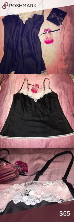 Satin Victoria's Secret sleep tank Brand new with tags from Victoria's Secret. This super soft and cozy satin and lace pajama shirt is a size large. TOP ONLY- normally bottoms come with. $55 retail price. Victoria's Secret Intimates & Sleepwear Pajamas