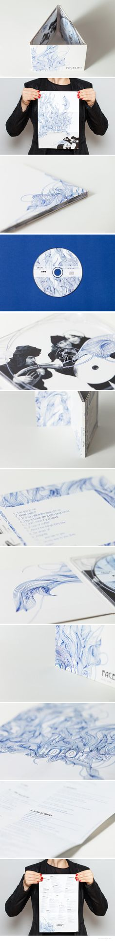 Cover Design for Facelift Music by Nicouleur #coverdesign #cd #facelift #graz #design #austria #nicouleur #pen #lines #blue #papercase #music